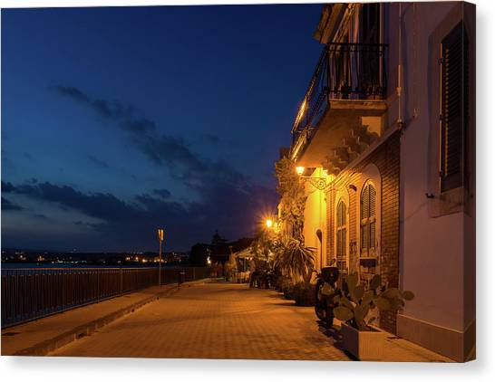 Midnite Canvas Print - Sicilian Blue Hour At Syracuse Seaside Promenade by Georgia Mizuleva