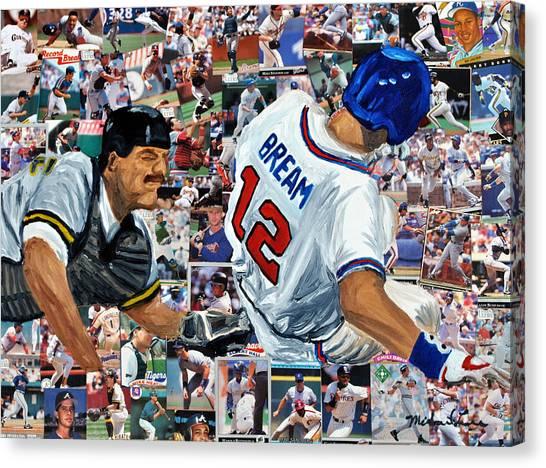 Atlanta Braves Canvas Print - Sid Bream Slide by Michael Lee