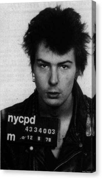 Sid Vicious Mug Shot Vertical Canvas Print