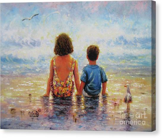 Big Sister Canvas Print - Side By Side Beach Boy And Girl by Vickie Wade