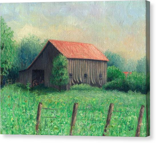 Canvas Print featuring the painting Side Of The Road by Joe Winkler