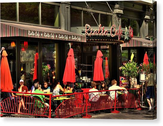 Sidewalk Cafe Canvas Print by Laurie Prentice