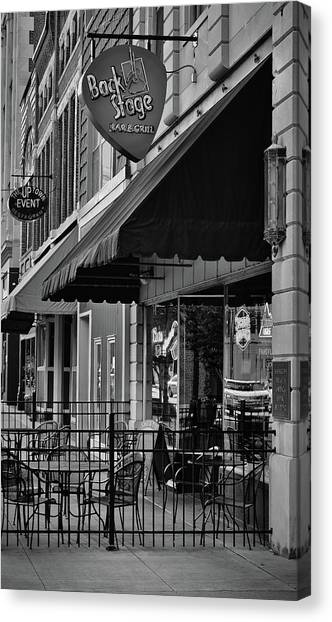 Guitar Picks Canvas Print - Sidewalk Respite - Bar And Grill - Bw by Greg Jackson