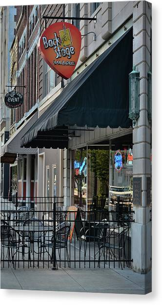 Guitar Picks Canvas Print - Sidewalk Respite - Bar And Grill by Greg Jackson