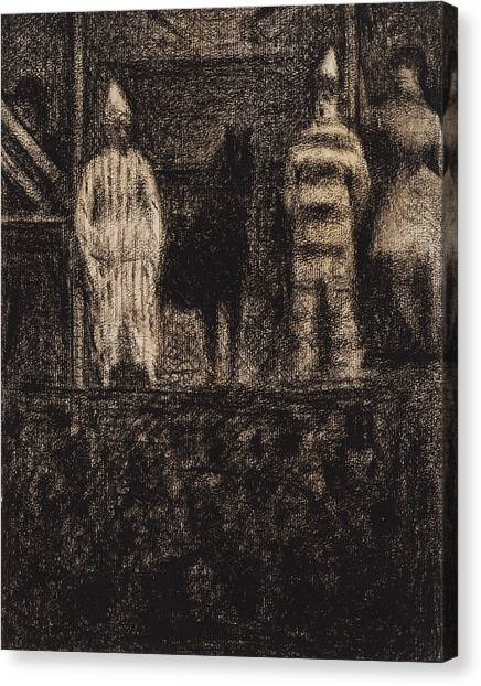 Pointillism Canvas Print - Sidewalk Show by Georges-Pierre Seurat