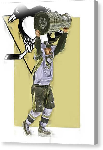 Pittsburgh Penguins Canvas Print - Sidney Crosby Pittsburgh Penguins Oil Art 2 by Joe Hamilton