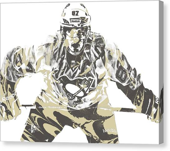 Pittsburgh Penguins Canvas Print - Sidney Crosby Pittsburgh Penguins Pixel Art 12 by Joe Hamilton