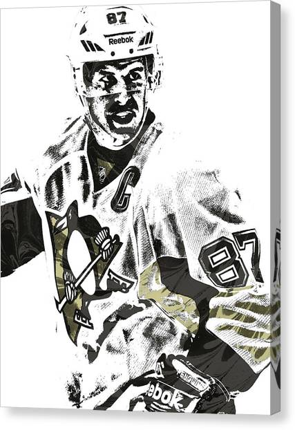 Pittsburgh Penguins Canvas Print - Sidney Crosby Pittsburgh Penguins Pixel Art 4 by Joe Hamilton