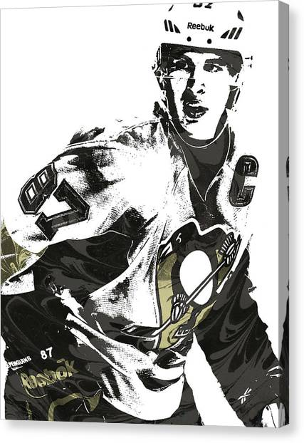 Pittsburgh Penguins Canvas Print - Sidney Crosby Pittsburgh Penguins Pixel Art by Joe Hamilton