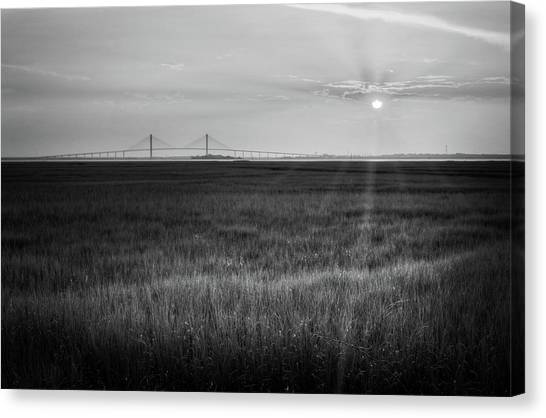 Sidney Lanier At Sunset In Black And White Canvas Print