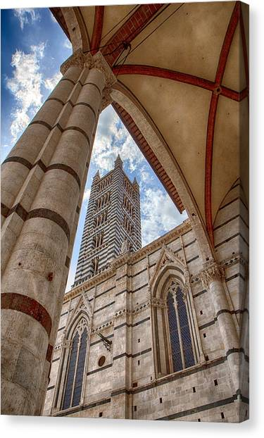 Siena Cathedral Tower Framed By Arch Canvas Print