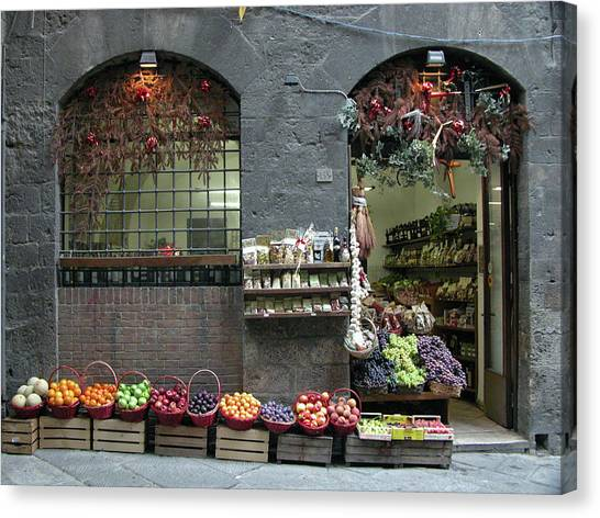 Canvas Print featuring the photograph Siena Italy Fruit Shop by Mark Czerniec