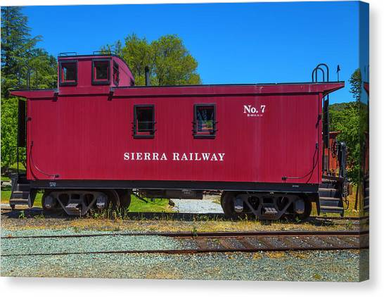 Caboose Canvas Print - Sierra Railway Red Caboose No 7 by Garry Gay