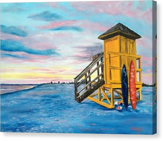 Siesta Key Life Guard Shack At Sunset Canvas Print