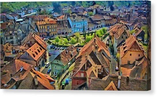 World Heritage Canvas Print - Sighisoara From Above by Jeffrey Kolker