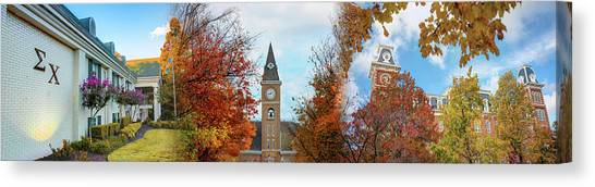 Sigma Chi Canvas Print - Sigma Chi University Of Arkansas Autumn Panorama by Gregory Ballos
