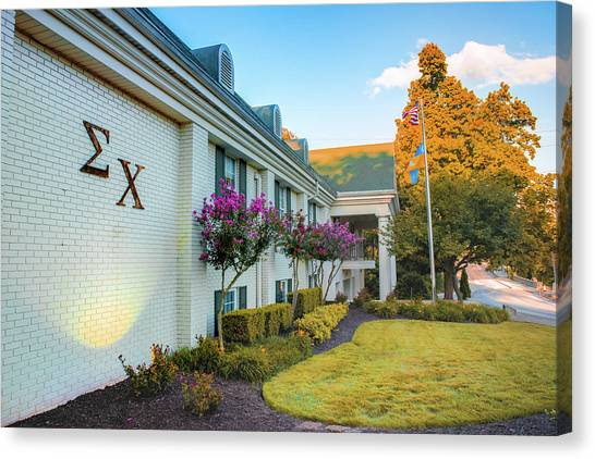 Sigma Chi Canvas Print - Sigma Chi - University Of Arkansas Razorback Campus by Gregory Ballos