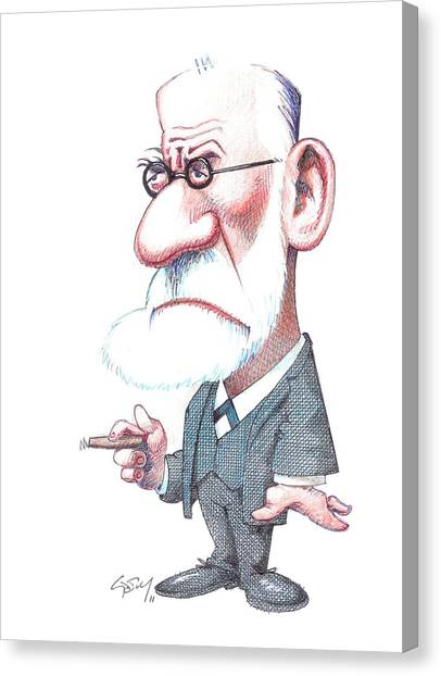 Unconscious Canvas Print - Sigmund Freud, Caricature by Gary Brown