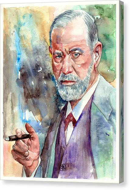 Philosophy Canvas Print - Sigmund Freud Portrait by Suzann's Art