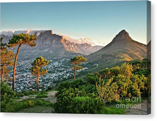 Table Mountain Canvas Print - Signal Hill In Cape Town by Delphimages Photo Creations