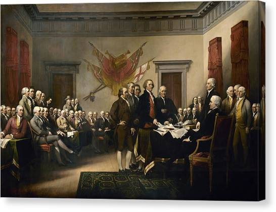 Thomas Jefferson Canvas Print - Signing The Declaration Of Independence by War Is Hell Store
