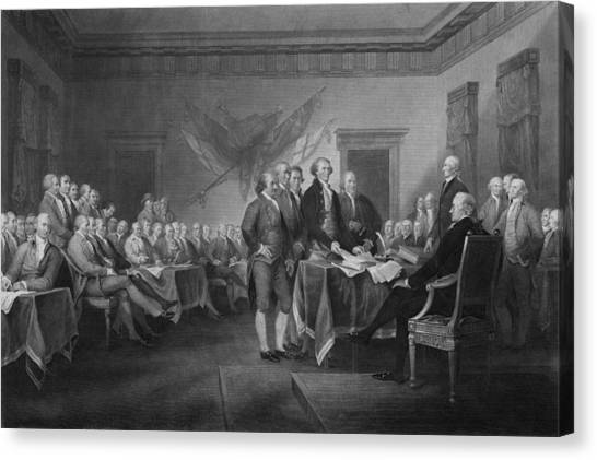 Ben Franklin Canvas Print - Signing The Declaration Of Independence by War Is Hell Store