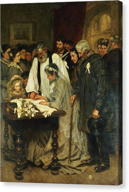 Pastor Canvas Print - Signing The Marriage Register by James Charles