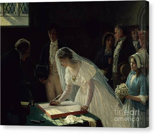 Wedding Bouquet Canvas Print - Signing The Register by Edmund Blair Leighton