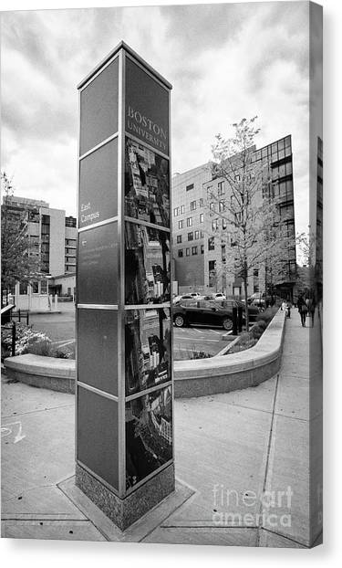 Patriot League Canvas Print - signpost for boston university east campus Boston USA by Joe Fox