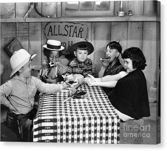 Boy Canvas Print - Silent Film: Little Rascals by Granger