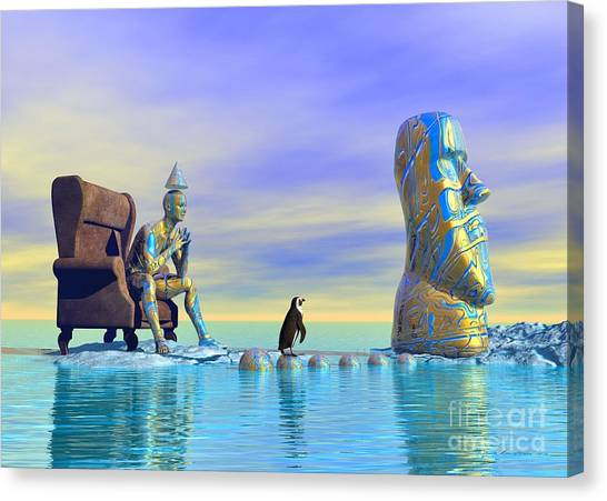 Canvas Print featuring the digital art Silent Mind - Surrealism by Sipo Liimatainen