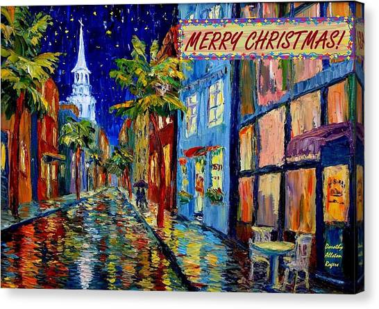 Silent Night Christmas Card Canvas Print