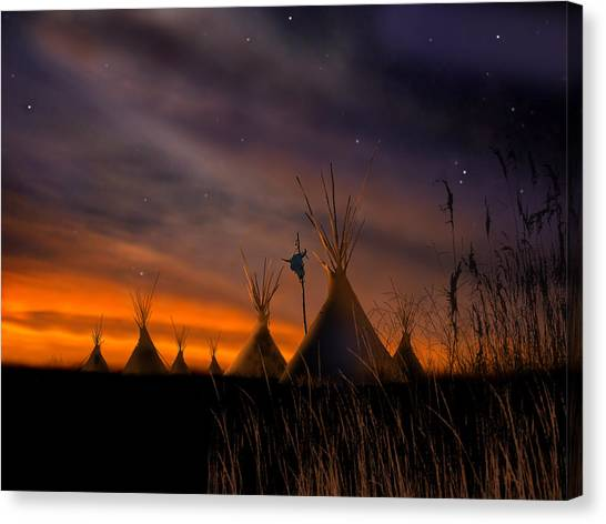 Native Americans Canvas Print - Silent Teepees by Paul Sachtleben