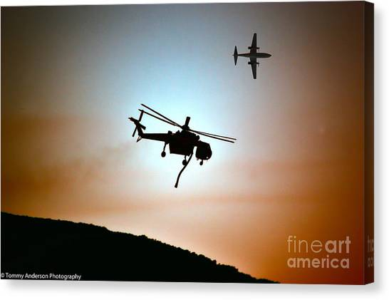 Skycrane Canvas Print - Silent Warriors by Tommy Anderson