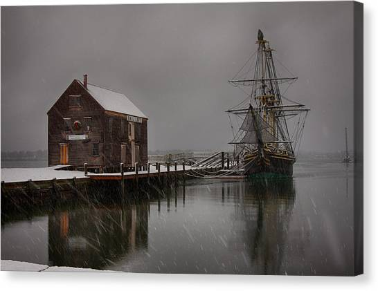 Silently The Snow Falls. Canvas Print
