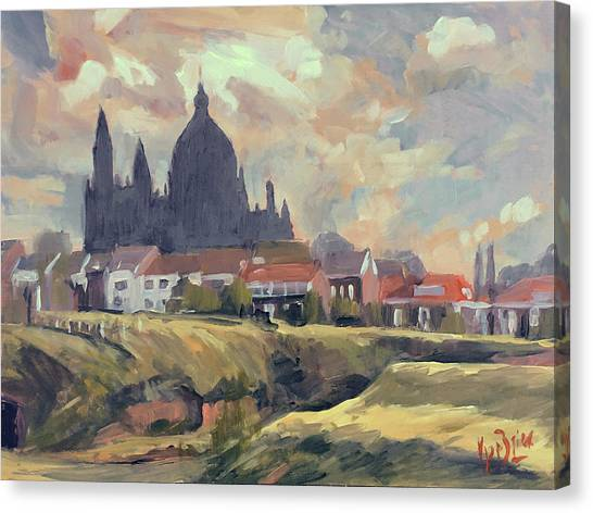 Briex Canvas Print - Silhouet Saint Lambertus Church Maastricht by Nop Briex