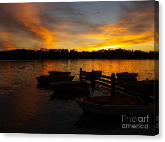 Silhouette Boats Canvas Print