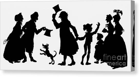 Gent Canvas Print - Silhouette Illustration From A Christmas Carol By Charles Dickens by English School