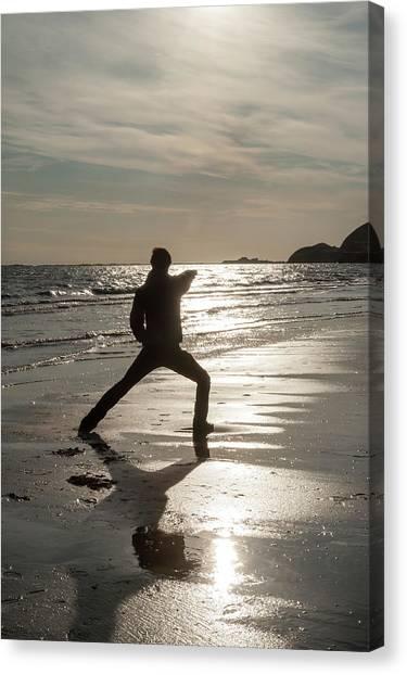 Taekwondo Canvas Print - Silhouette Martiale 3 by Marie-Eve LaBadie