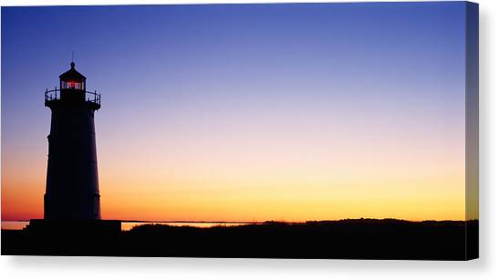 Marthas Vineyard Canvas Print - Silhouette Of A Lighthouse, Edgartown by Panoramic Images