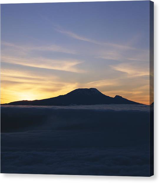 Mount Kilimanjaro Canvas Print - Silhouette Of Mount Kilimanjaro by David Pluth