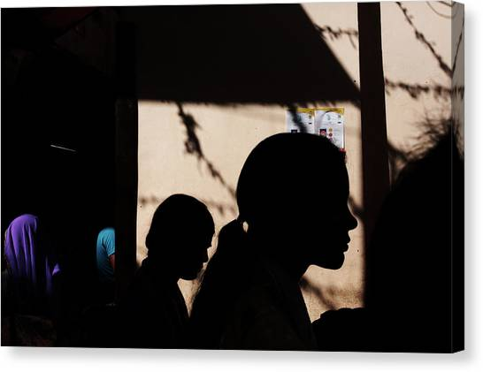 Silhouette Of People Canvas Print