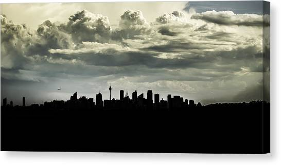 Silhouette Of Sydney Canvas Print
