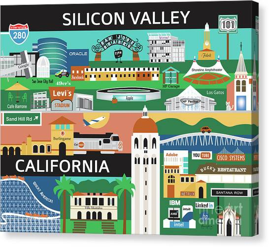 Stanford University Canvas Print - Silicon Valley California Horizontal Scene - Collage by Karen Young
