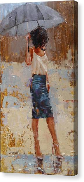 Woman Canvas Print - Silk by Laura Lee Zanghetti