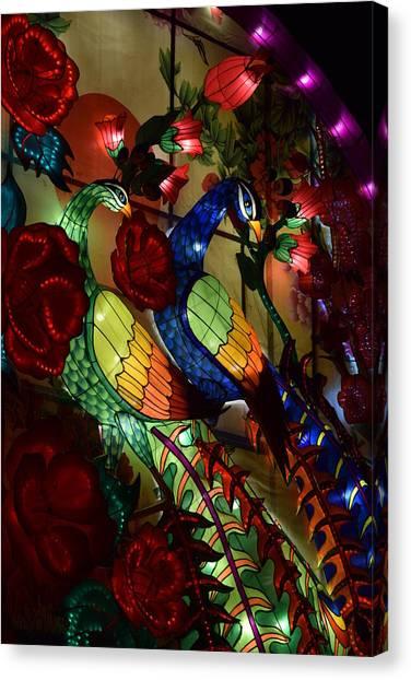 Silk Peacocks Canvas Print