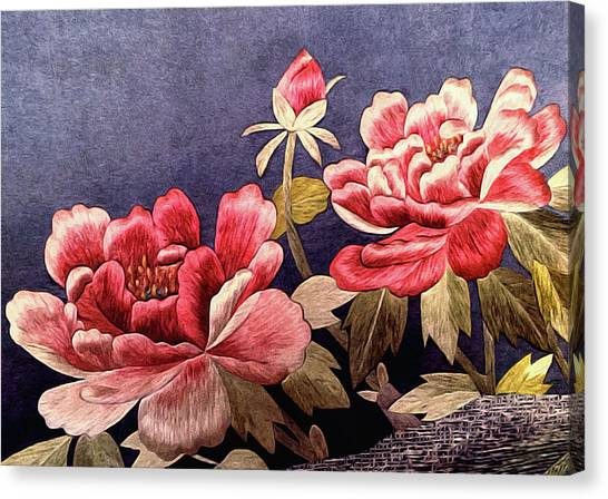 Silk Peonies - Kimono Series Canvas Print