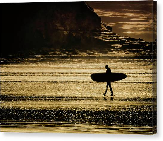 Sillhouette Of Surfer Walking On Rossnowlagh Beach, Ireland  Canvas Print