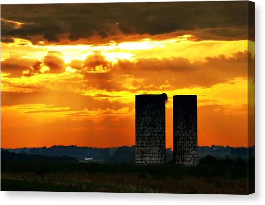 Silos At Sunset Canvas Print