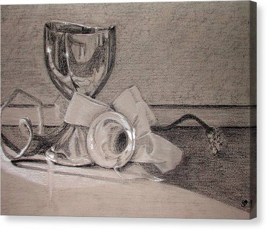 Silver And Glass Still Life Canvas Print by Rebecca Tacosa Gray